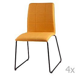 Sada 4 žlutých  jídelních židlí sømcasa Malina