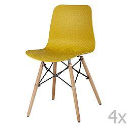 Sada 4 žlutých jídelních židlí sømcasa Tina