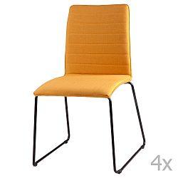 Sada 4 žlutých jídelních židlí sømcasa Vera