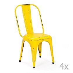 Sada 4 žlutých kovových jídelních židlí Interlink Aix