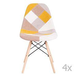 Sada 4 žlutých židlí sømcasa Karen