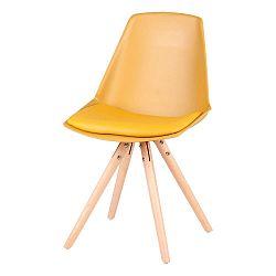 Sada 4 žlutých židlí s nohama zbukového dřeva sømcasa Bella