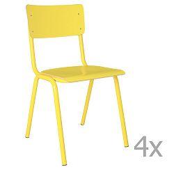 Sada 4 žlutých židlí Zuiver Back to School