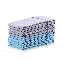 Sada 5 modrých a 5 šedých bavlněných utěrek DecoKing Checkered
