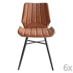 Sada 6 hnědých jídelních židlí RGE Odin