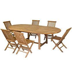 Sada 6 židlí a jídelního stolu z teakového dřeva Santiago Pons