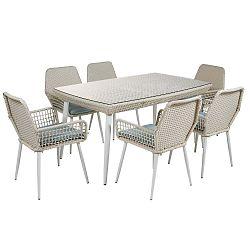 Sada 6 židlí a jídelního stolu z umělého ratanu Santiago Pons Jardin