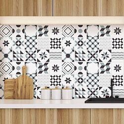 Sada 60 dekorativních samolepek na stěnu Ambiance Geometric Grey