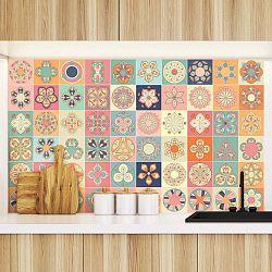Sada 60 dekorativních samolepek na stěnu Ambiance Montevideo, 10 x 10 cm
