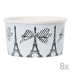 Sada 8 papírových kelímků na zmrzlinu se lžičkami Miss Étoile Paris