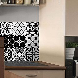 Sada 9 nástěnných samolepek Ambiance Classic Azulejos Black and White Shade, 10 x 10 cm