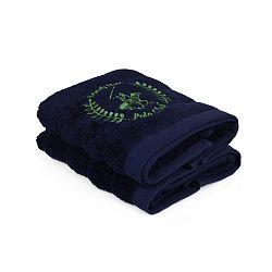 Sada dvou tmavě modrých ručníků Beverly Hills Polo Club, 70x40cm