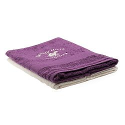 Sada fialového a krémového ručníku Beverly Hills Polo Club Tommy Orj, 50x100cm