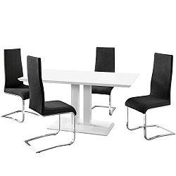 Sada jídelního stolu a 4 černých židlí Støraa Mai