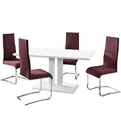 Sada jídelního stolu a 4 fialových židlí Støraa Mai