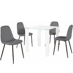 Sada jídelního stolu a 4 šedých židlí Støraa Dante, délka stolu 80 cm