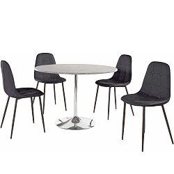 Sada kulatého jídelního stolu a 4 černých židlí Støraa Terri Concrete