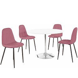 Sada kulatého jídelního stolu a 4 růžových židlí Støraa Terri