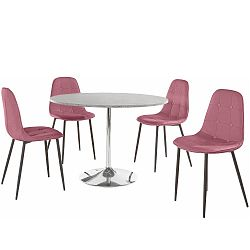 Sada kulatého jídelního stolu a 4 růžových židlí Støraa Terri Concrete
