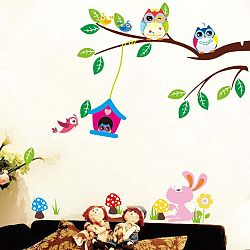 Sada samolepek Fanastick Owls and Bird Cage On Tree