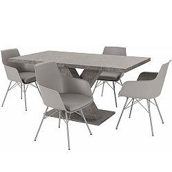 Sada stolu a 4 šedých židlí Støraa Albert