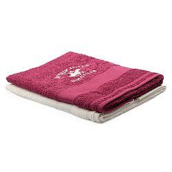 Sada vínového a krémového ručníku Beverly Hills Polo Club Tommy Orj, 50x100cm