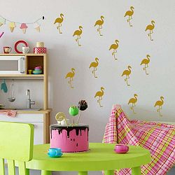 Sada žlutých samolepek na zeď North Carolina Scandinavian Home Decors Flamingo
