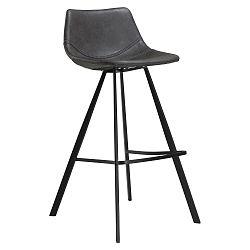 Šedá barová židle s černým kovovým podnožím DAN–FORM Pitch