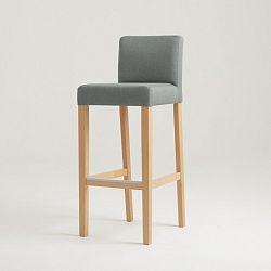Šedá barová židle s přírodními nohami Custom Form Wilton
