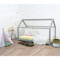Šedá dětská postel bez bočnic ze smrkového dřeva Benlemi Tery, 70 x 160 cm
