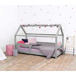 Šedá dětská postel s bočnicemi ze smrkového dřeva Benlemi Tery, 120 x 160 cm