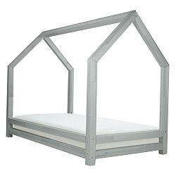 Šedá dětská postel z lakovaného smrkového dřeva Benlemi Funny, 90 x 160 cm