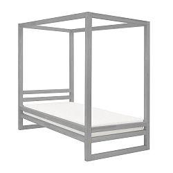 Šedá dřevěná jednolůžková postel Benlemi Baldee, 190x80cm