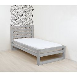 Šedá dřevěná jednolůžková postel Benlemi DeLuxe, 200x90cm