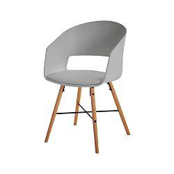 Šedá jídelní židle s bukovými nohami Interstil Luna