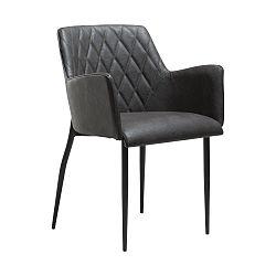 Šedá jídelní židle s područkami DAN–FORM Rombo Faux