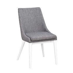 Šedá polstrovaná jídelní židle s bílými nohami Folke Bea