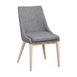 Šedá polstrovaná jídelní židle se světle hnědými nohami Folke Bea