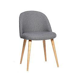 Šedá židle s nohami z dubového dřeva Hübsch Alberte