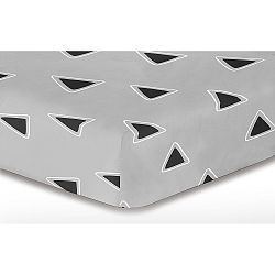 Šedé elastické prostěradlo se vzorem DecoKing Triangle, 160x200cm