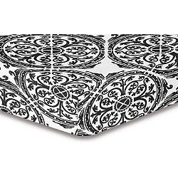 Šedo-bílé elastické prostěradlo se vzorem DecoKing Hypnosis Malaga, 220x200cm
