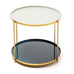 Šedo-petrolejový odkládací stolek 360 Living Romy 522, ⌀ 50 cm