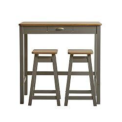 Šedý barový stolek se 2 stoličkami z masivního borovicového dřeva Marckeric Caya