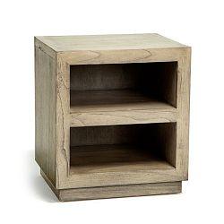 Šedý dřevěný noční stolek Thai Natura Boxy, 50 x 55 cm