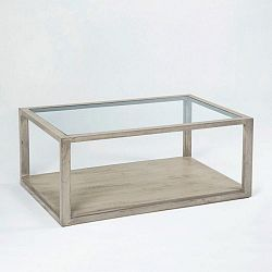 Šedý konferenční stolek z lakovaného dřeva a skla Thai Natura, 110 x 70 cm