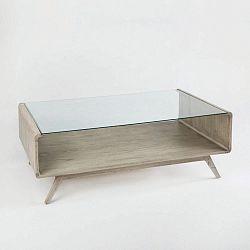 Šedý konferenční stolek ze dřeva a skla Thai Natura Baptism, 120 x 70 cm