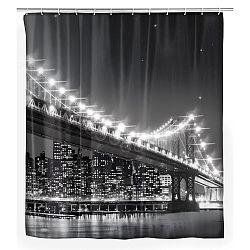 Šedý sprchový závěs Wenko Led Brooklyn Bridge, 180x200cm