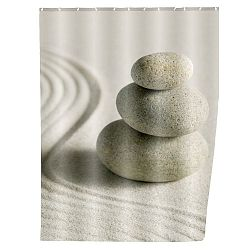 Šedý sprchový závěs Wenko Sand, 180x200cm