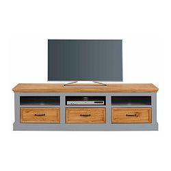 Šedý TV stolek z masivního borovicového dřeva Støraa Suzie