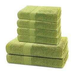 Set 2 limetkově zelených osušek a 4 ručníků DecoKing Marina